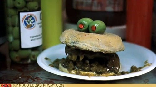 eyes,face,mouth,olives,sandwich,Terrifying