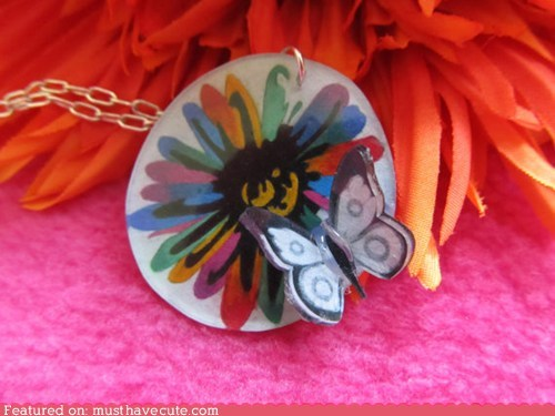 butterfly,Flower,necklace,shrinky dinks