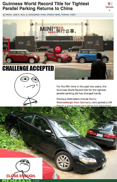 China Close Enough parallel parking world record