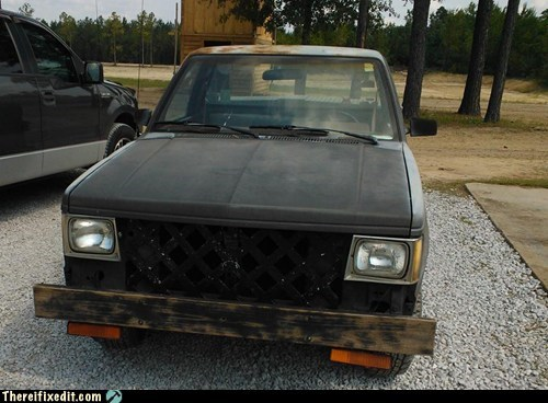back porch,bumper,car fail,car fix,engine,grill,hood,truck
