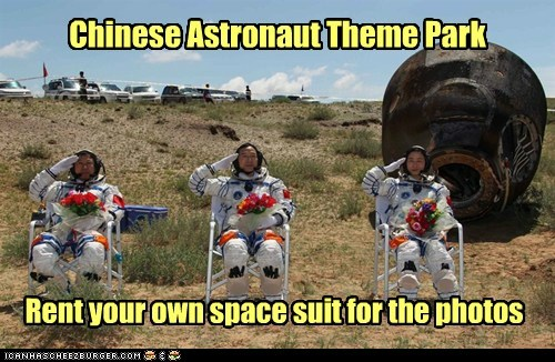 Chinese Astronaut Theme Park Rent your own space suit for the photos