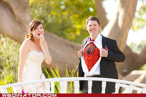 bride,comics,funny wedding photos,geek,groom,Spider-Man