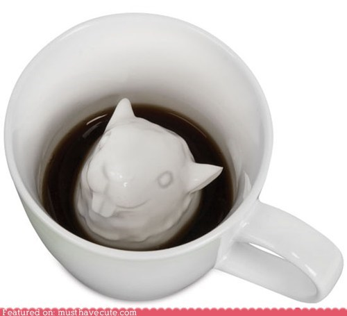 attack morning mug porcelain scary squirrel