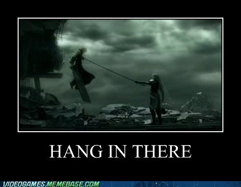 cloud,final fantasy,hang in there,meme,sephiroth