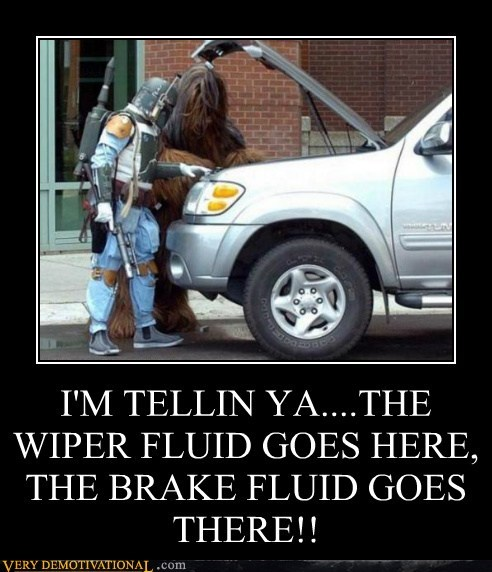 boba fett,car,hilarious,wiper fluid,wookie