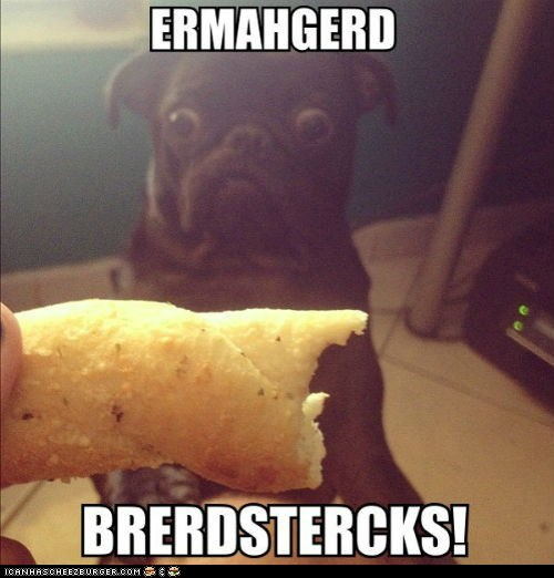 breadsticks derp dogs Ermahgerd food Memes omg pugs want - 6390997504