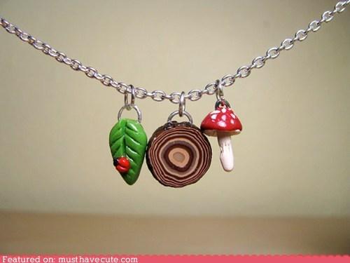chain Charms leaf mushroom wood - 6391080960