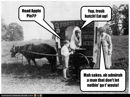 cart,horse,ice cream,pie,road apple,wagon