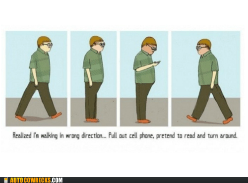 faking it,pretend to read,pull out cell phone,turn around,wrong direction
