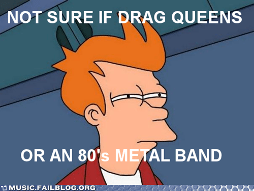 80s drag queen fry meme hair metal