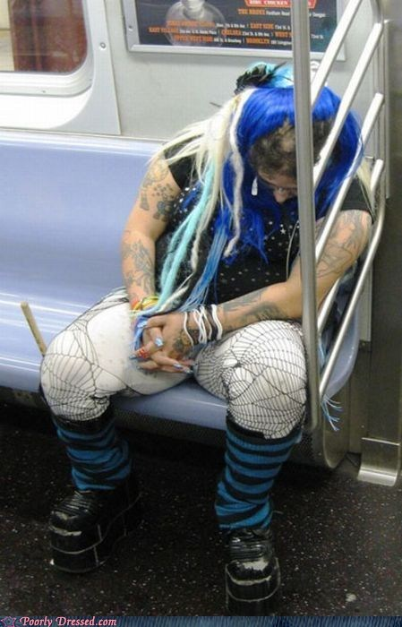 goth,passed out,Subway,techno,weird,what,wig