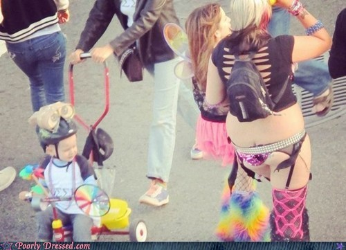 baby,bikini,lady bits,oh god why,stroller,techno,what