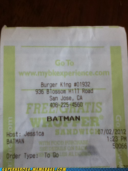 batman burger king hungry Superhero IRL - 6392110080
