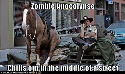 apocalypse,Badass,chill,horse,middle of the road,Rick Grimes,The Walking Dead,zombie