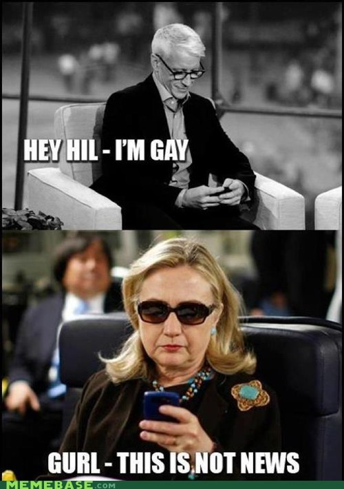 Anderson Cooper gay Memes texts from hilary - 6392738560