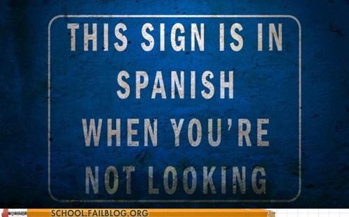 not looking quantum mechanics sign in spanish true and untrue - 6392747264
