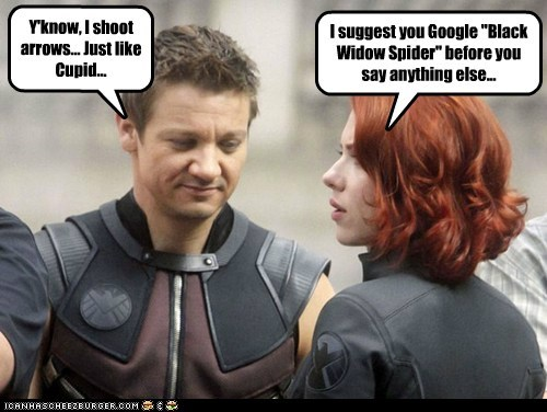 arrows,avengers,Black Widow,cupid,flirting,hawkeye,name,scarlett johannson