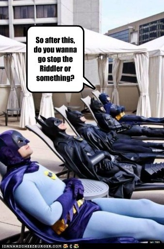 after batman fighting crime relaxing Riddler stop tanning vacation - 6393012736