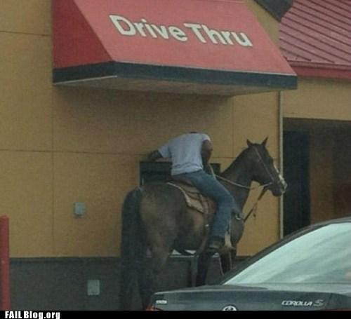 drive thru,fast food,horse