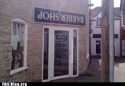 barber shop funny signs upside down - 6393673216