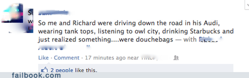 audi douche douchebags owl city Starbucks