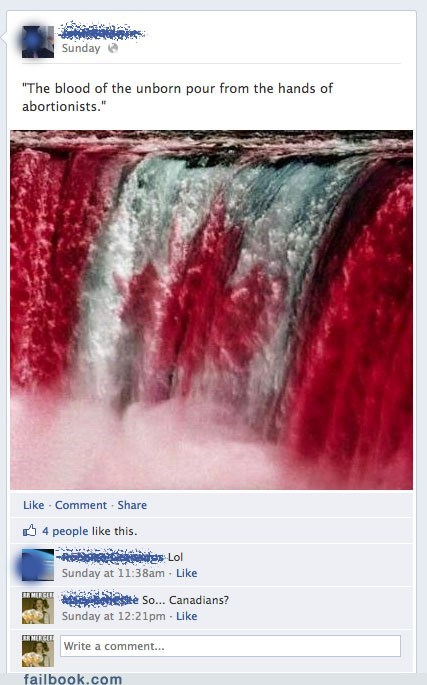 abortion Canada controversial waterfall