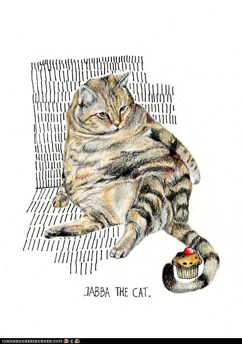 art,Cats,cupcakes,drawings,fat,illustrations,jabba the hutt,sci fi,star wars