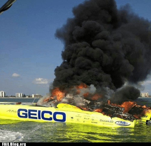 boat,fire,GEICO,ironic