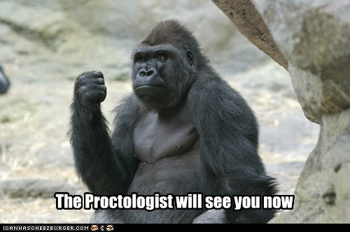 captions,fist,gorilla,painful,proctologist,scary