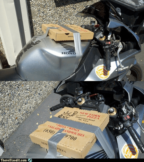 duct tape,motorcycle,pizza,pizza box,valuables