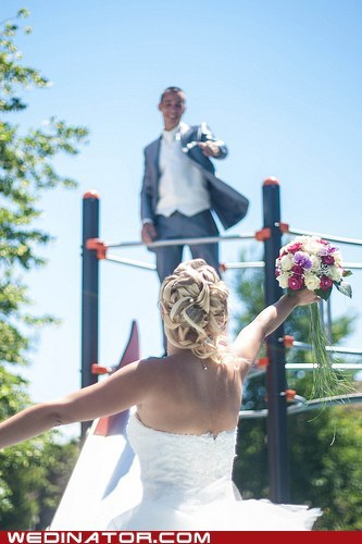 bride,funny wedding photos,groom,playground,slide