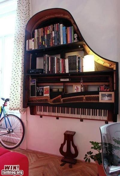 bookshelves,design,DIY,piano,reading is sexy