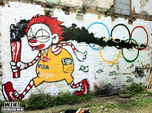 graffiti,hacked irl,McDonald's,olympics,sports