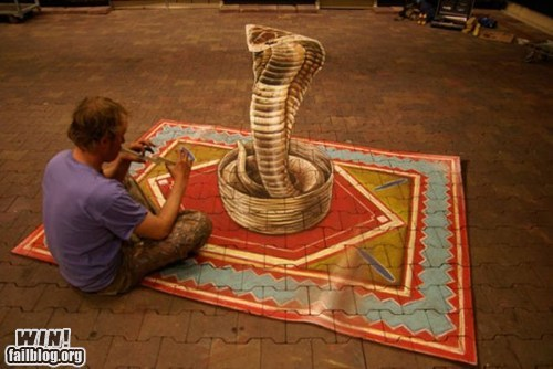 chalk art,design,illusion,snake charmer