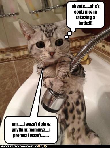 um.......i wazn't doingz anythinz mommyz.....i promez i wazn't......... oh zute......she'z coutz mez in takezing a bathz!!!