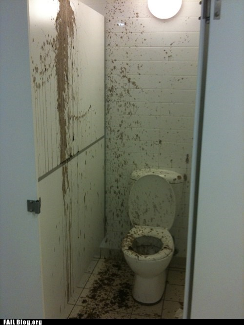 feces everywhere,public restroom,toilet