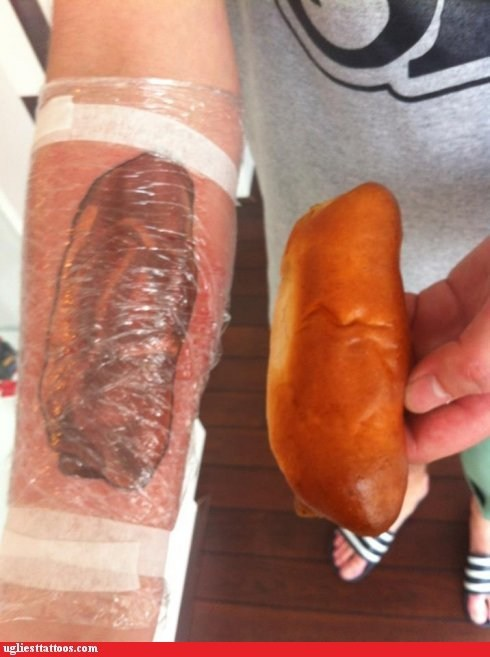 arm tattoos bread hoagie bun sausage roll - 6397208064