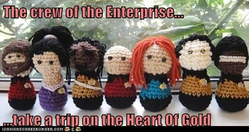 Amigurumi beverly crusher Captain Picard data Geordi La Forge heart of gold improbability knit Star Trek william riker