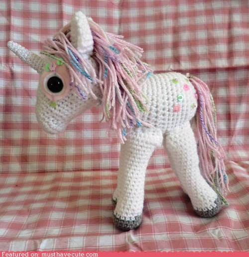 Amigurumi Crocheted handmade unicorn yarn - 6398478080