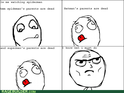 dead parents,parenting,Rage Comics,superheroes