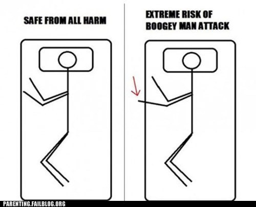 bed,boogy man,safe,stick figures