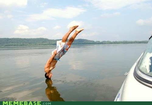 headstand on water look what I can do Perfect Timing water - 6399382784