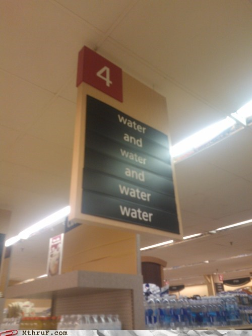 aisle,aisle 4,grocery store,water