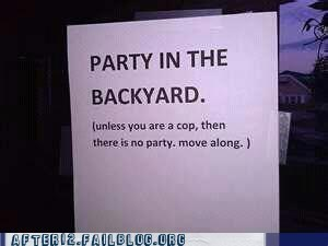 backyard party,cop,Party,party in the backyard,police