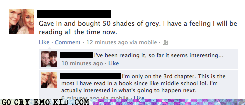 50 shades,dumb,facebook,reading,weird kid