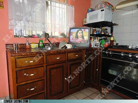 kitchen,sink,TV,water
