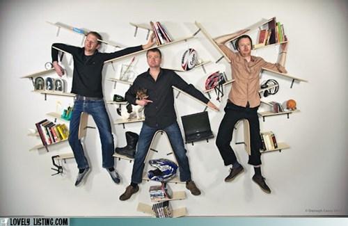 bookcase hang men shelves wall - 6400056832