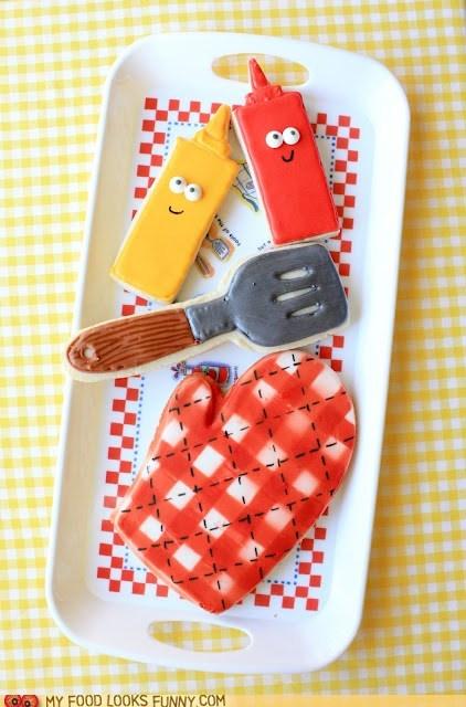 bbq,cookies,icing,ketchup,mitt,mustard,spatula