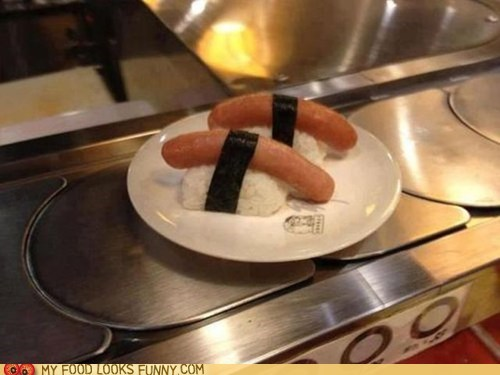 conveyor belt hot dog rice seaweed sushi