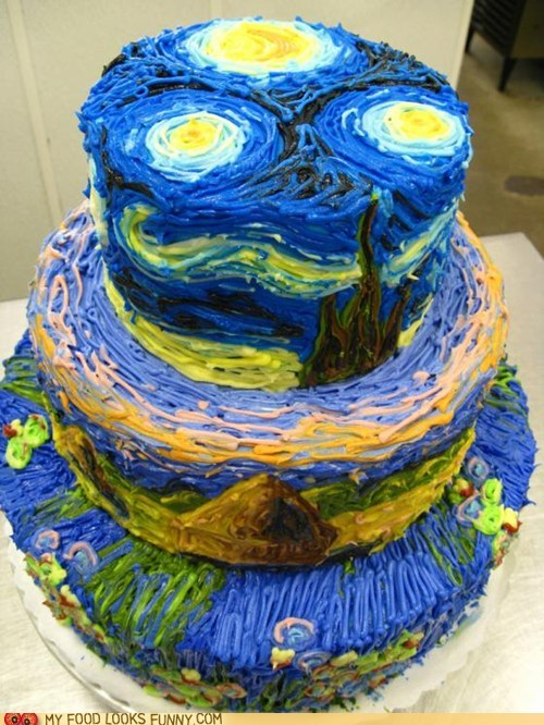 art,cake,frosting,starry night,Van Gogh